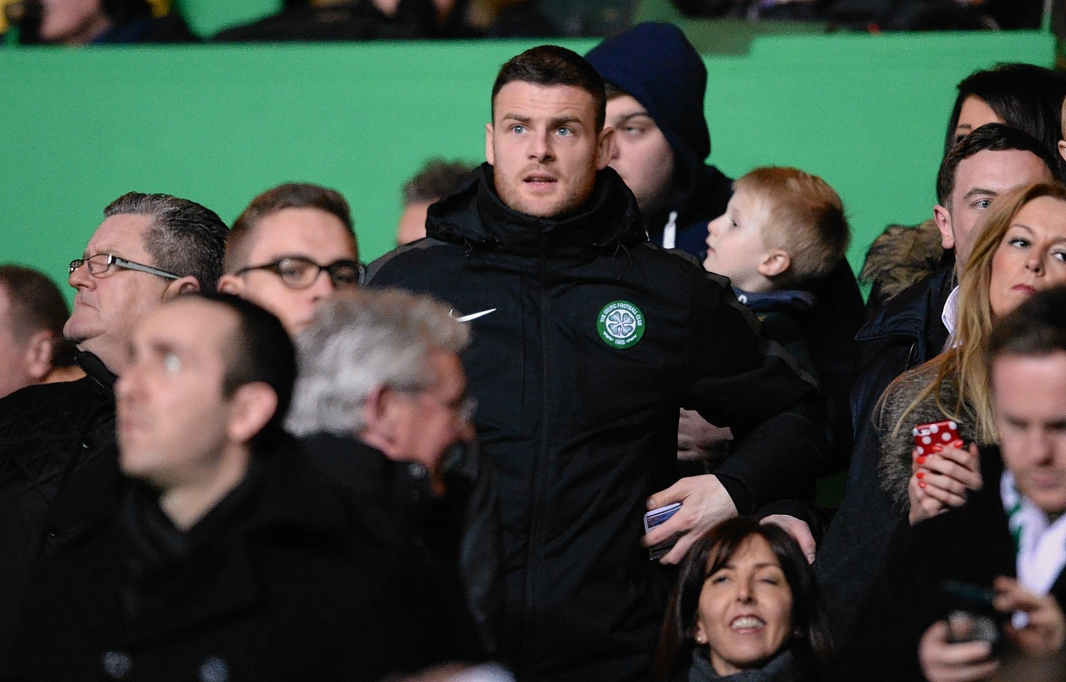 Anthony Stokes was forced to watch the first leg of the Inter Milan tie from the Parkhead stands