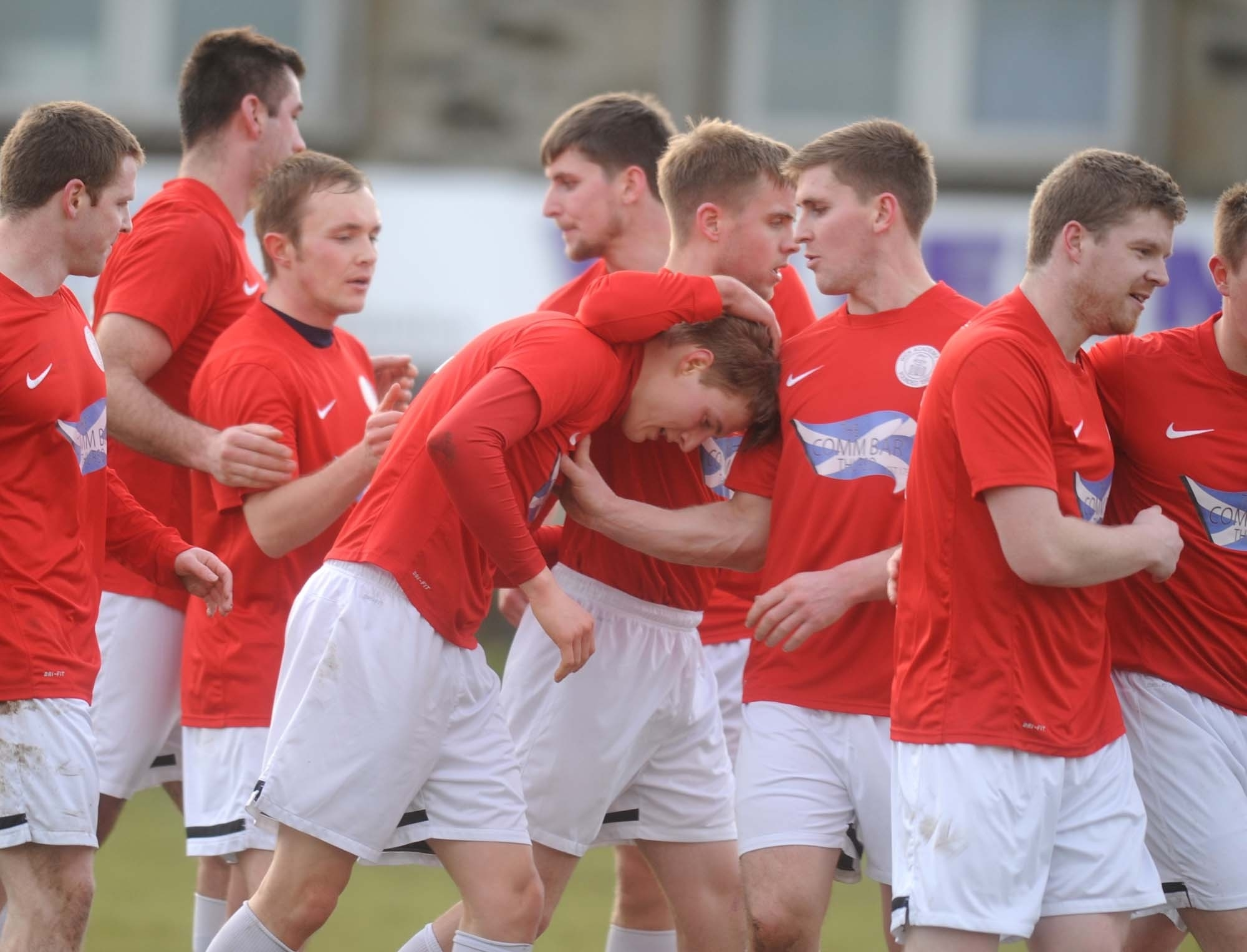 Wick Academy celebrate their opening goal this afternoon
