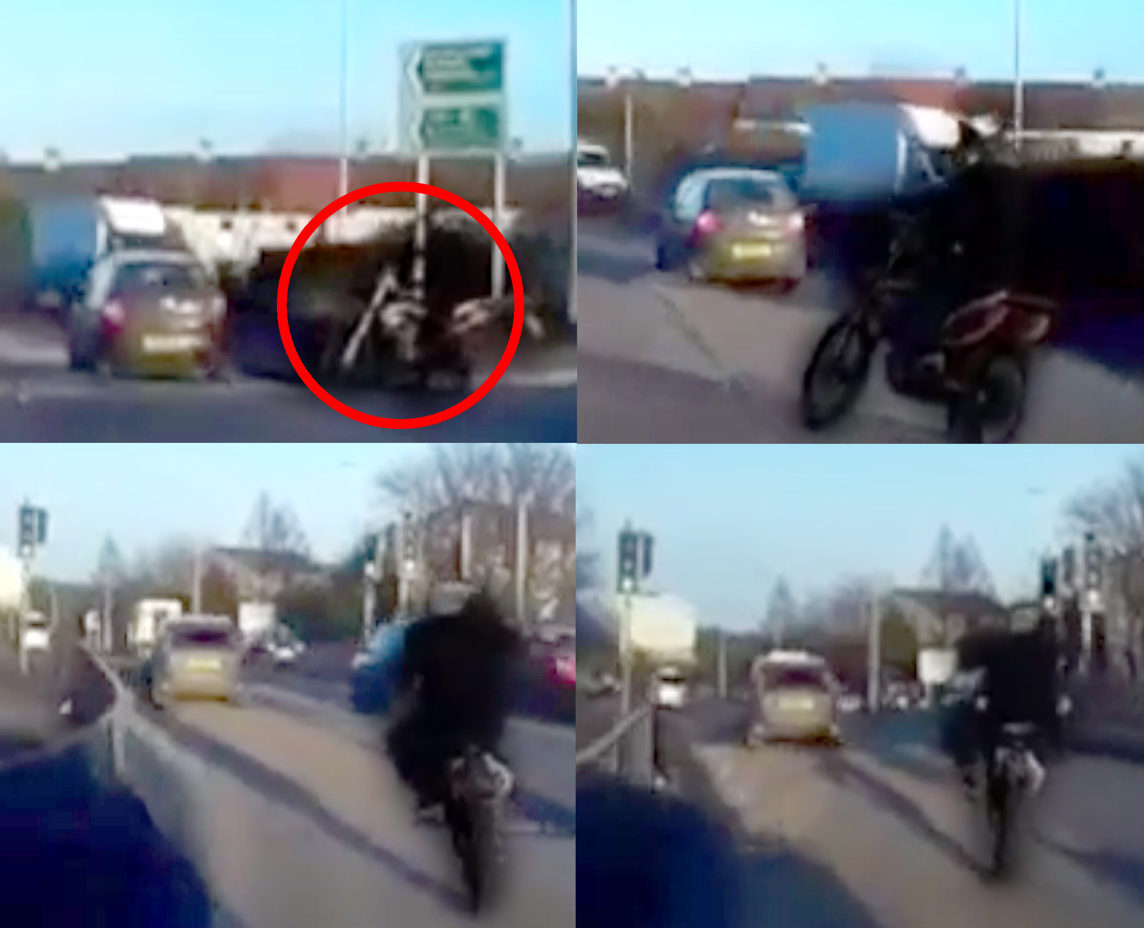 Pictures show the biker merging onto a roundabout on Aberdeen's North Anderson Drive before doing two wheelies and undertaking cars