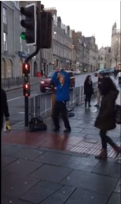 The funky dancer outside Aberdeen's St Nicholas Centre