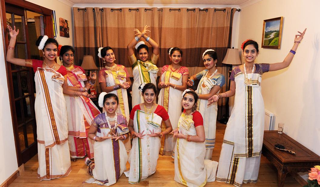 Indian Dancers  (front, from left) Megha Jacobs, Nandiai Dufta, Oishani Dutta. (back, from left) Joyce Joshi, Lynette Thomas, Jewel Jacob, Carolyn Thomas, Siya Thomas, Ansu Saji and Nayana Koshy.