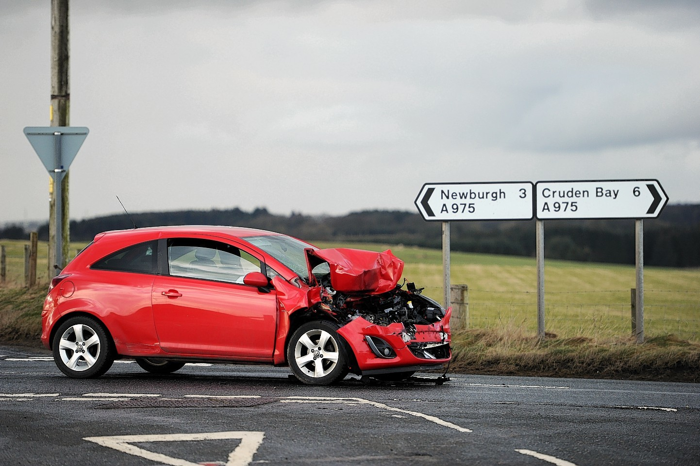 The accident took place on the A975