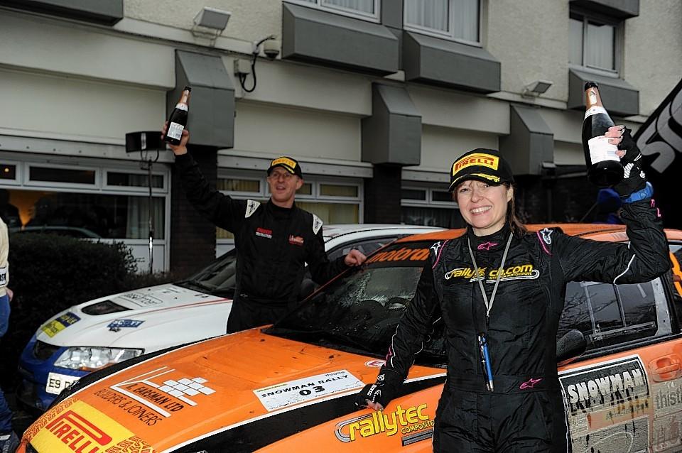 The winning team, Jock Armstrong and, Paula Swinscoe with their Subaru Impreza