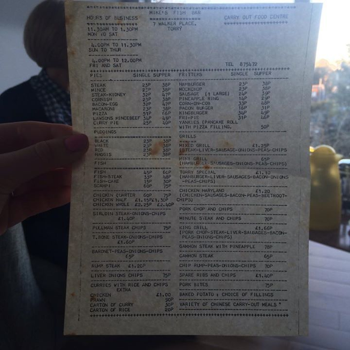 The old fish and chip menu from Mike's Fish Bar in Torry