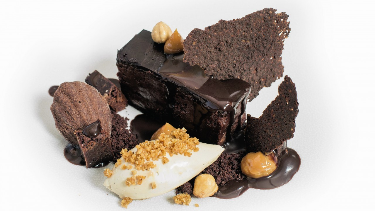 Jamie Scott's chocolate pave and coffee cream