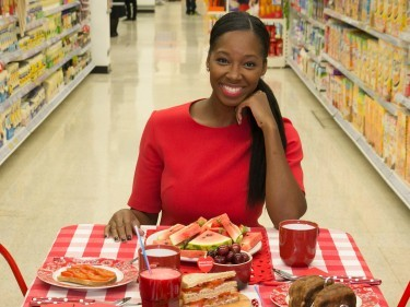 Jamelia who is supporting The British Heart Foundation and Warburtons campaign to educate the nation on the importance of a healthy diet.