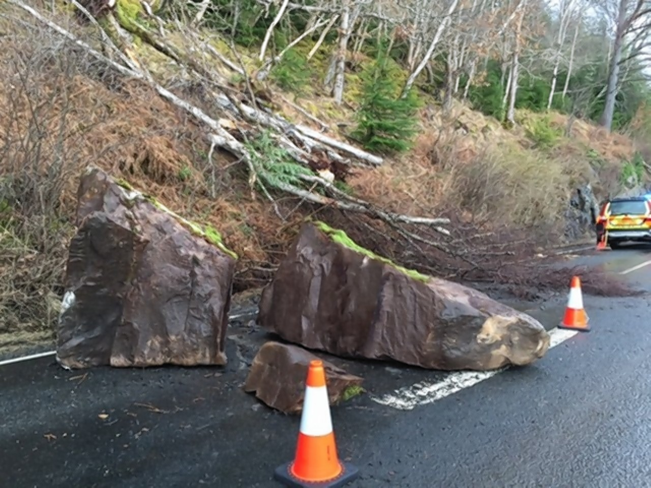 The rocks fell on Thursday but the road will remain closed throughout the weekend