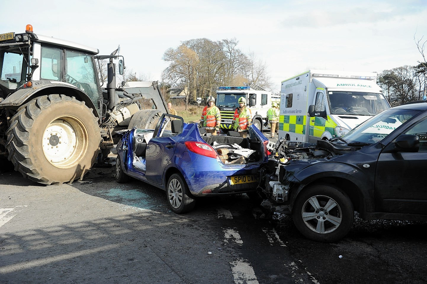 The vehicles collided at the Findhorn Bridge yesterday afternoon