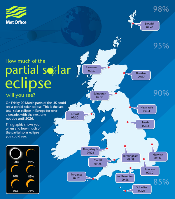 The map showing best times to see the solar eclipse in Scotland