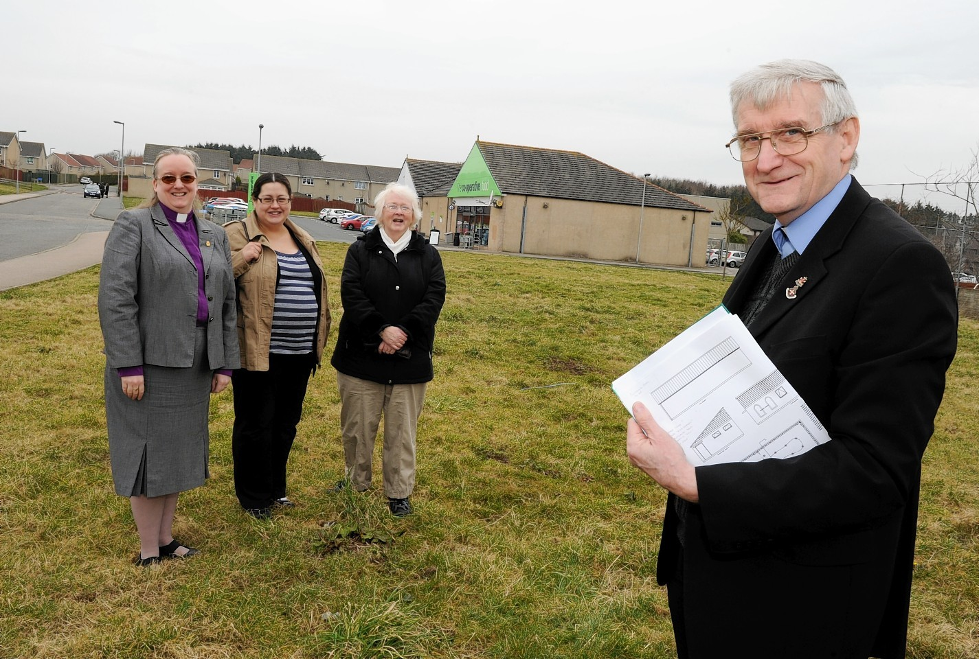 Reverend Andy Cowie with members of the Balmedie Congregational Church
