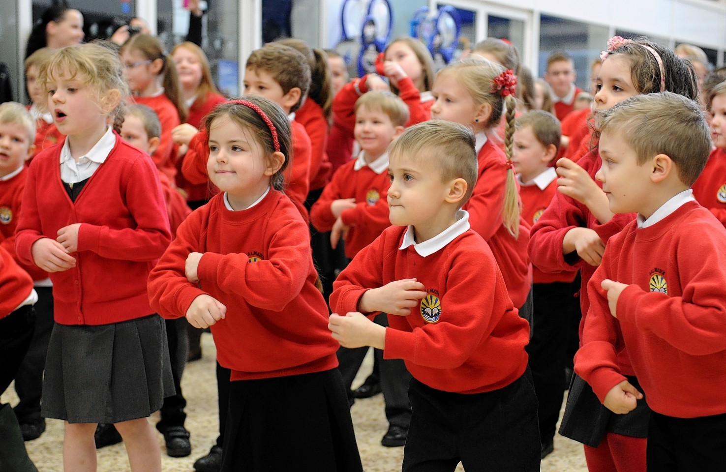Pupils from Balmedie Primary School flash dancing for Red nose day