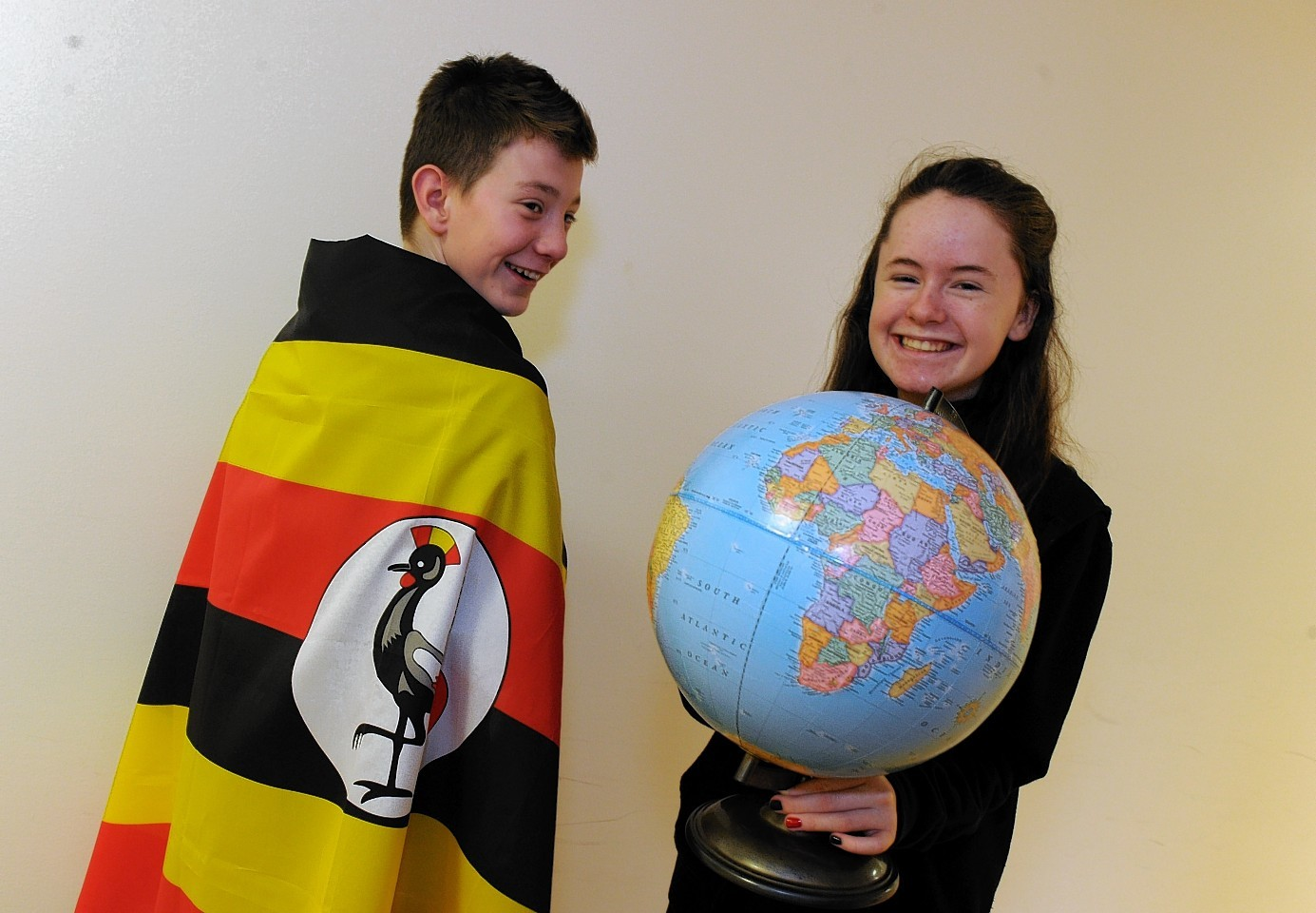 First year Bucksburn Academy students, Jordan Galbraith and Rachel Davidson, are taking part in ARCHIE for Uganda, raising money to build a children's operating theatre in the capital.