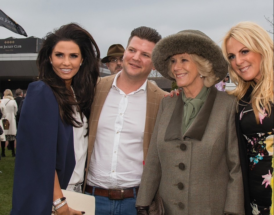 Camilla, Duchess of Cornwall posed for photographs in the paddock with racegoers including Katie Price