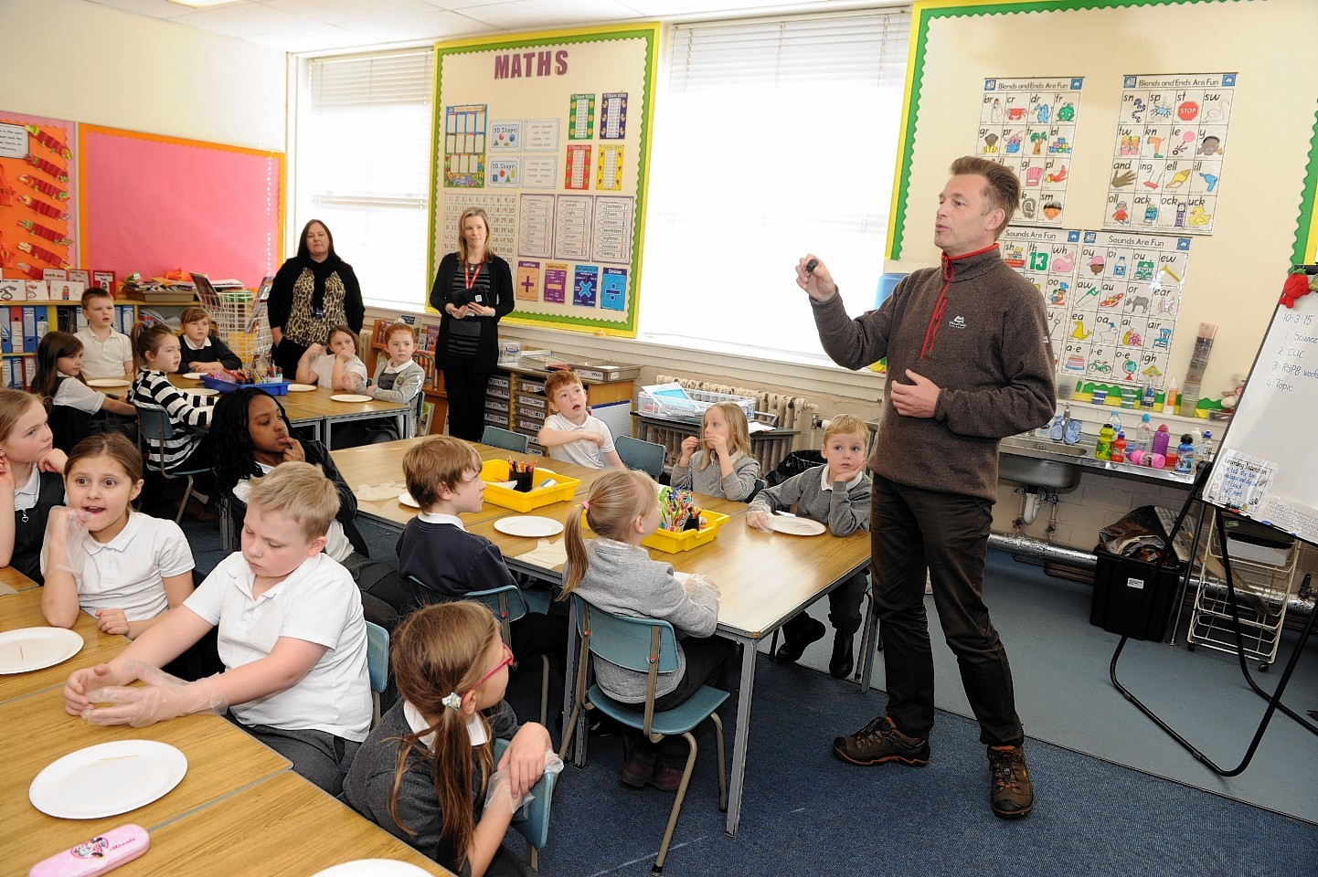 TV presenter and naturalist Chris Packham visits Abbotswell Primary School to highlight what Aberdeen and District RSPB are doing to connect children with nature. Part of the group's 40th anniversary.