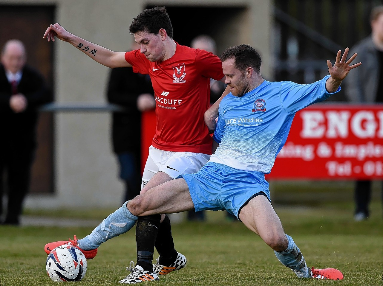 Colin Charlesworth in action (left)