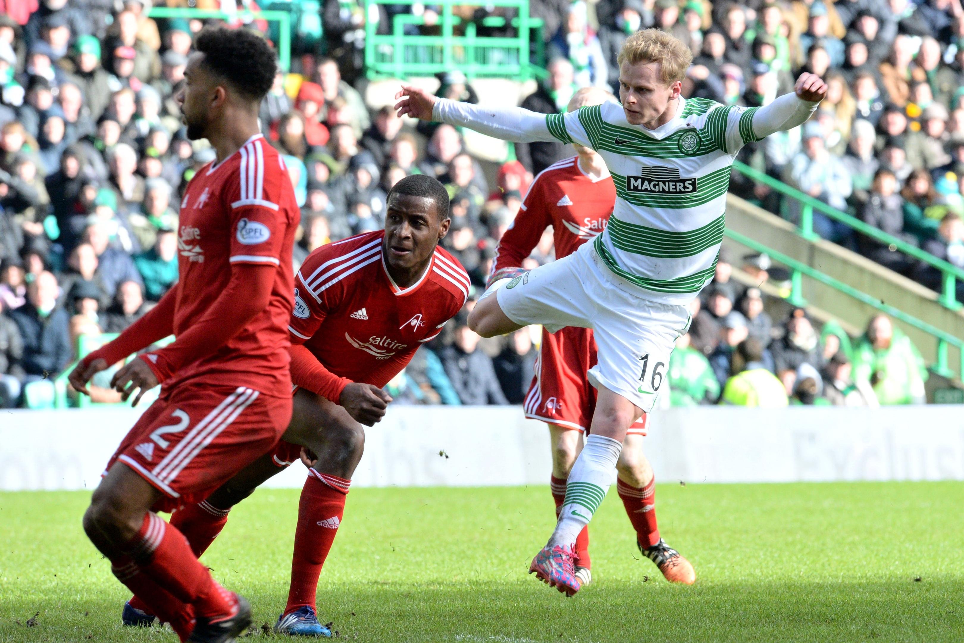 Gary Mackay-Steven fires home for Celtic against the Dons