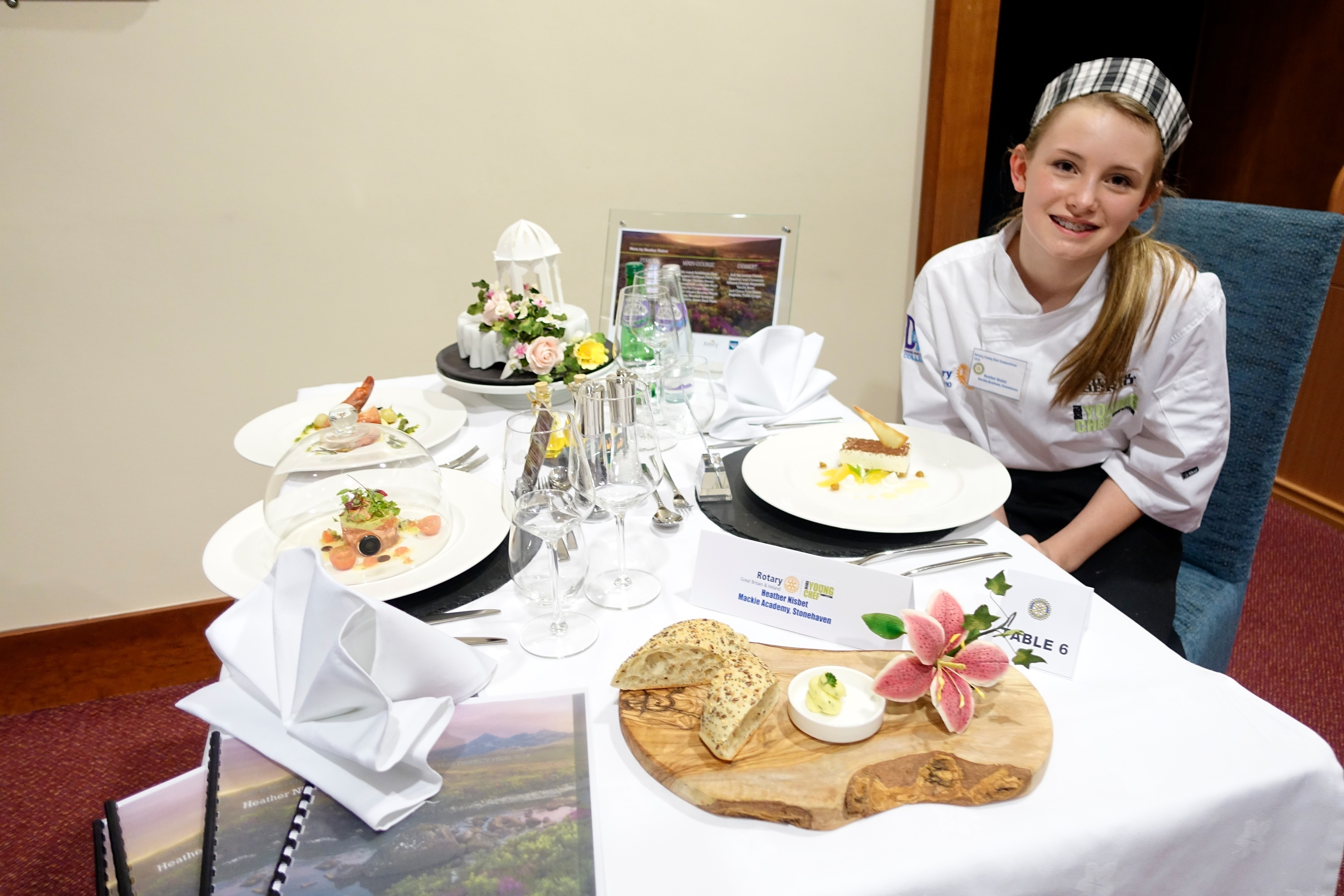 Thirteen-year-old Mackie Academy pupil, Heather Nisbet, has been crowed culinary champion of a regional heat of the Rotary International in Great Britain and Ireland (RIBI)'s Young Chef of The Year awards.