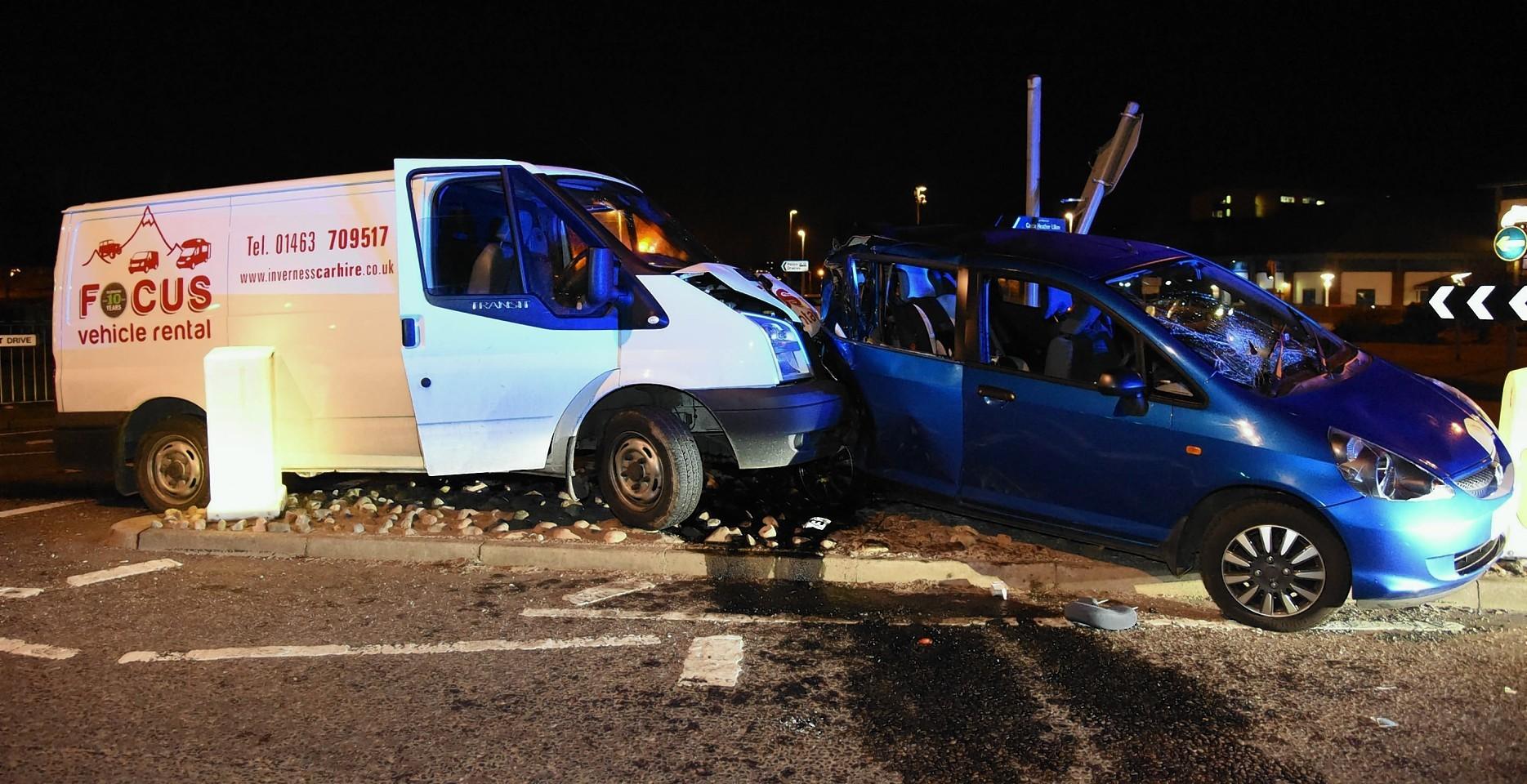 Inshes roundabout crash