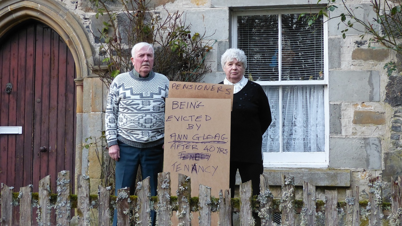 Jimmy and Lillie Bryan posted a sign about their eviction outside their home