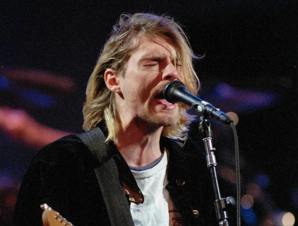 Kurt Cobain on stage
