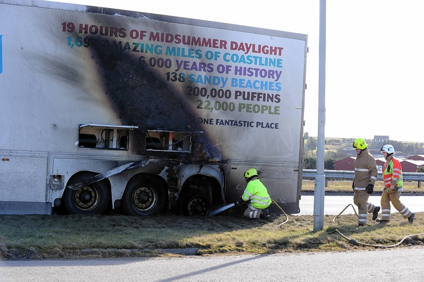 Fire crews were called to the lorry blaze which blocked the A90 northbound
