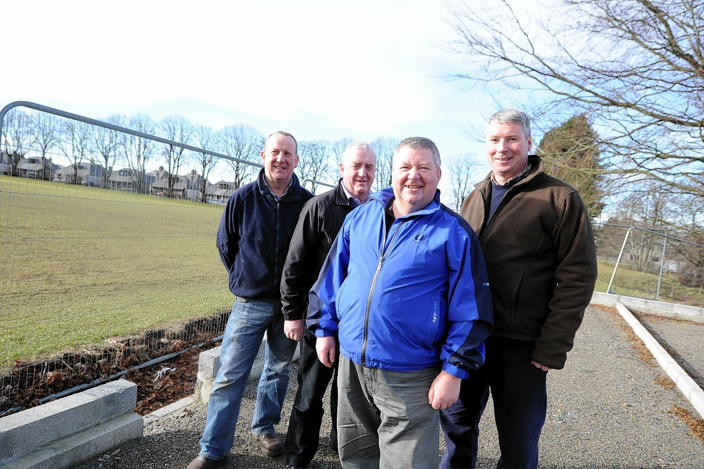 The sports committee at the new sports paviliion at Oldmeldrum, Grant Davidson, Stan Mckenzie, Doug Petrie and Neil Webster
