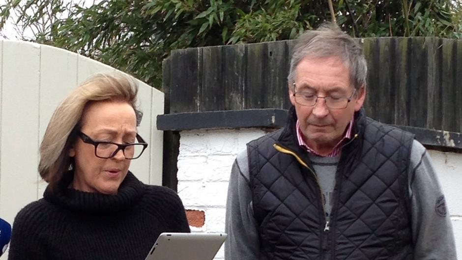 Breeders Dee Milligan-Bott and Jeremy Bott speaking outside their home last week