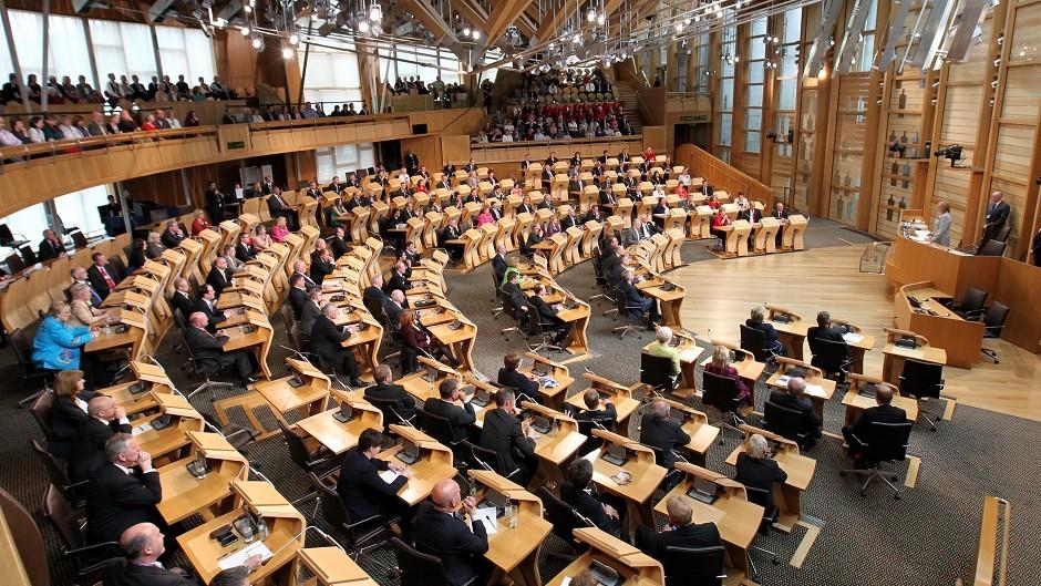 The Scottish Parliament debating chamber.