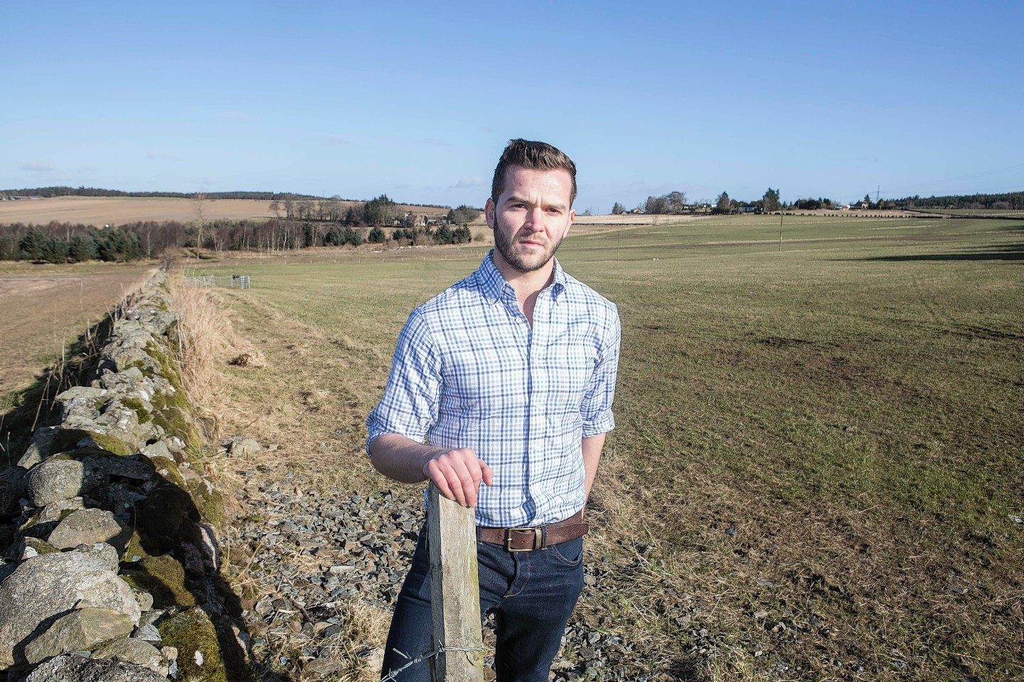 Rory Gregor at his Kemnay field where the sheep were stolen