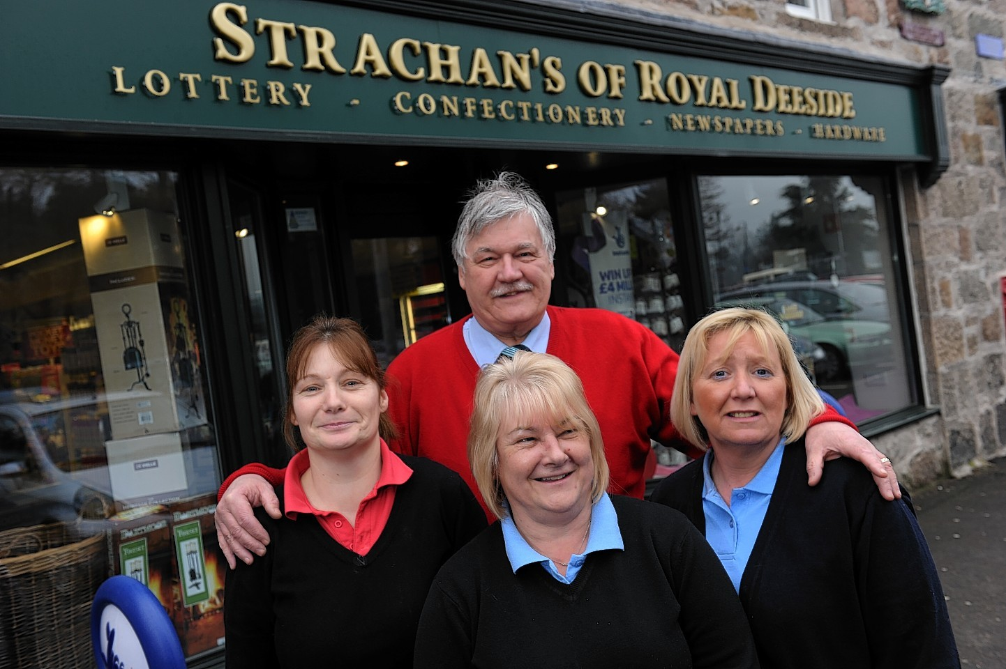 George Strachan with staff members Maria Sutton, Phyllis Taylor, and Julie Strachan.  Picture by Kenny Elrick