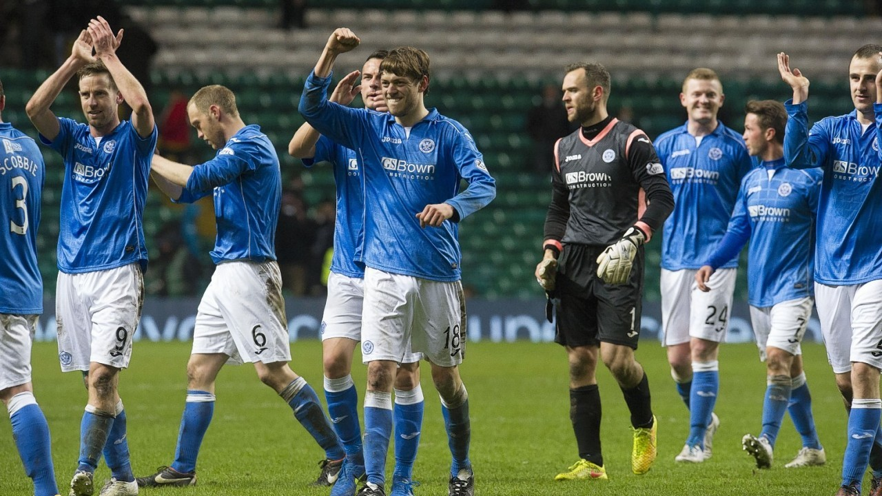 St Johnstone players head to celebrate with their supporters