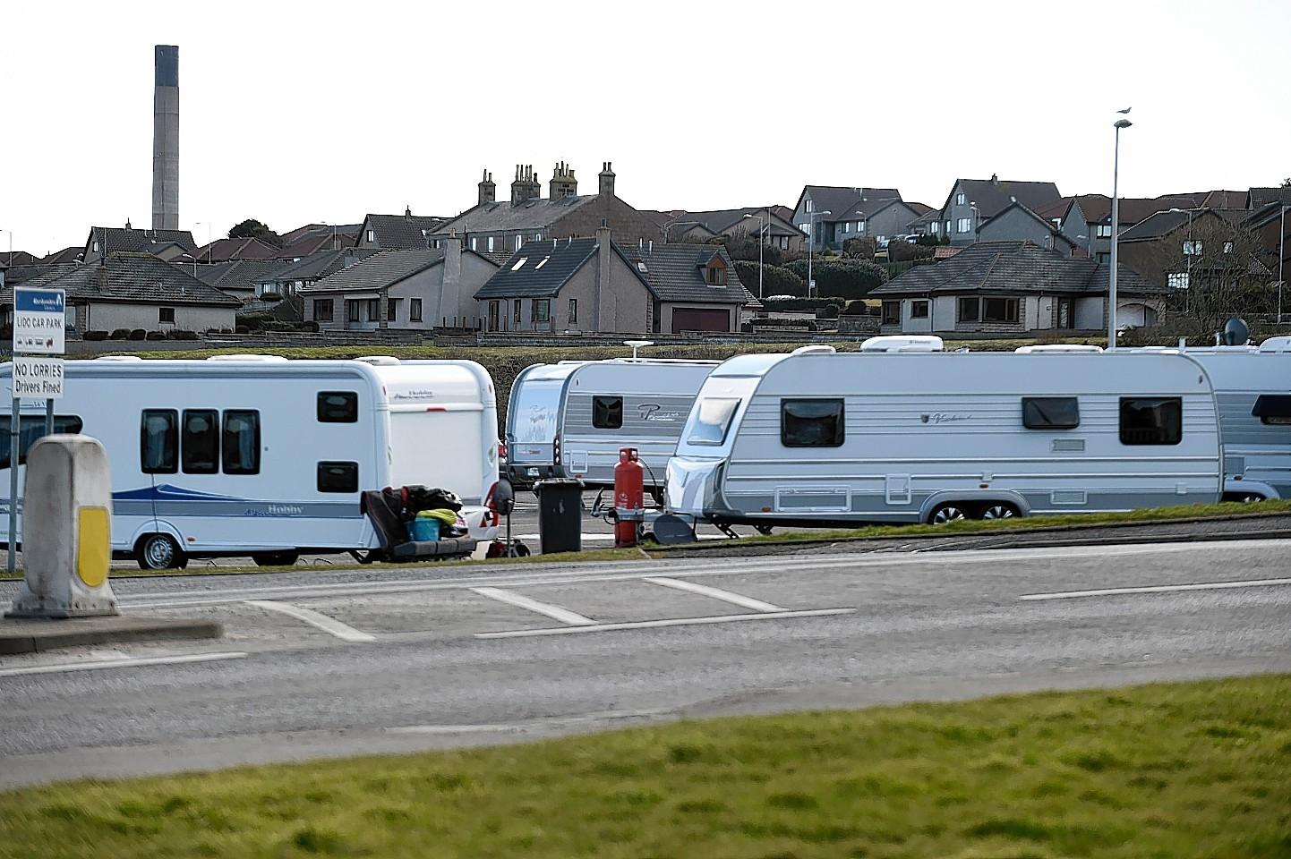 Travellers in Peterhead's Lido car park