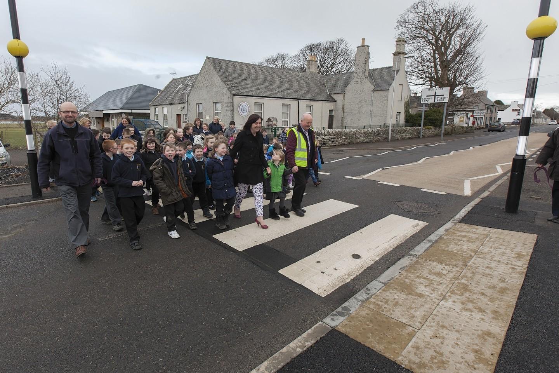 The crossing outside Watten Primary School