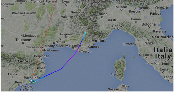 This map shows excactly the plane disappeared from radar screens in the French Alps.