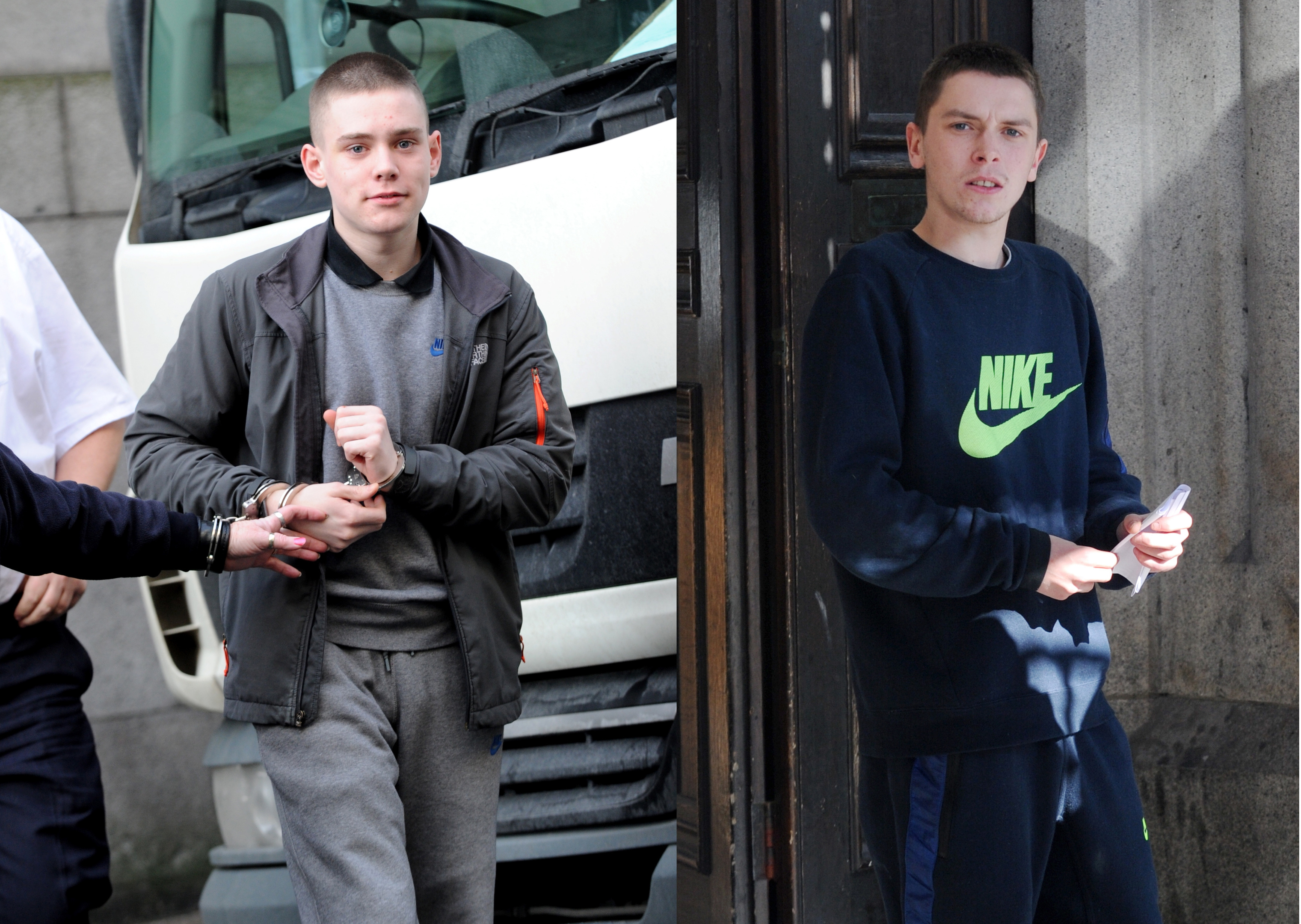 Conor Smart and Jason Grant leaving Aberdeen court