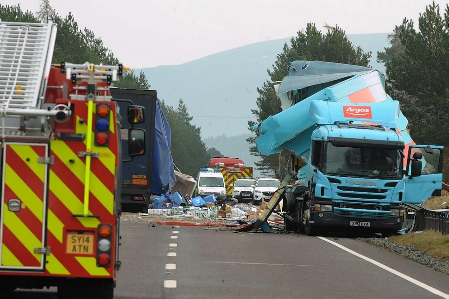 The crash scene on the A9 near Kingussie