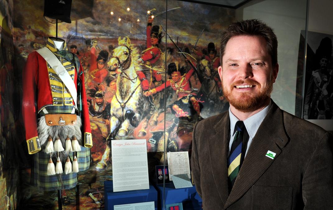 Curator Jesper Ericsson at the launch of the Waterloo bi-centenary display.