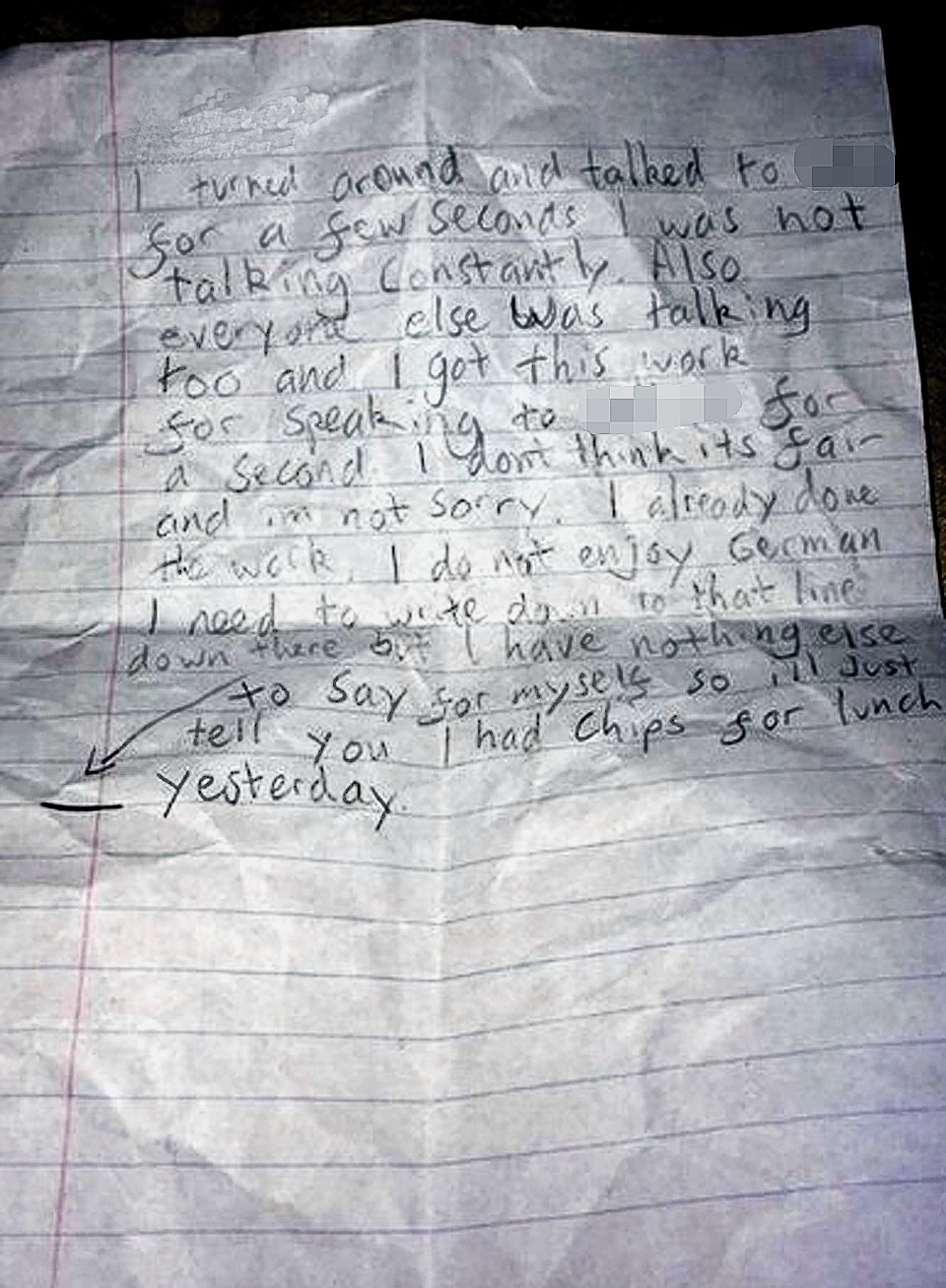 The picture shows the letter a north-east schoolboy wrote to his teacher