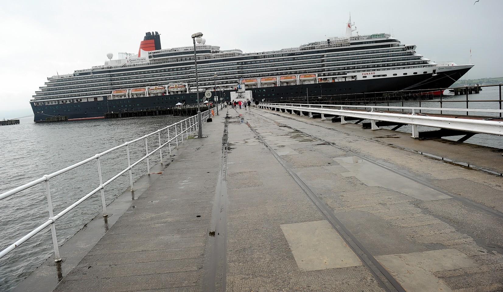 Queen Elizabeth touring ship at Invergordon