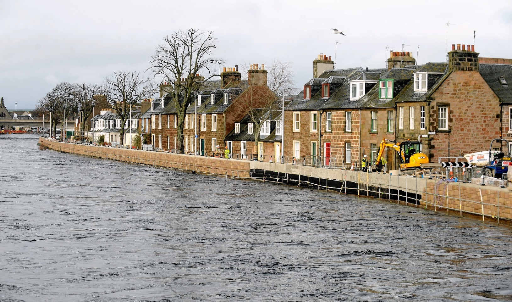 The River Ness in Inverness reached its highest point for many years at high tide yesterday afternoon
