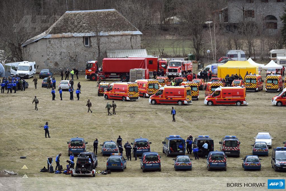 Rescue workers gather in Seyne, south-eastern France, near the site where a Germanwings Airbus A320 crashed.