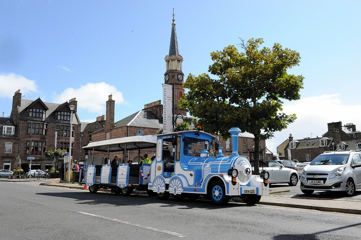 Stonehaven tourist land train at the town square.