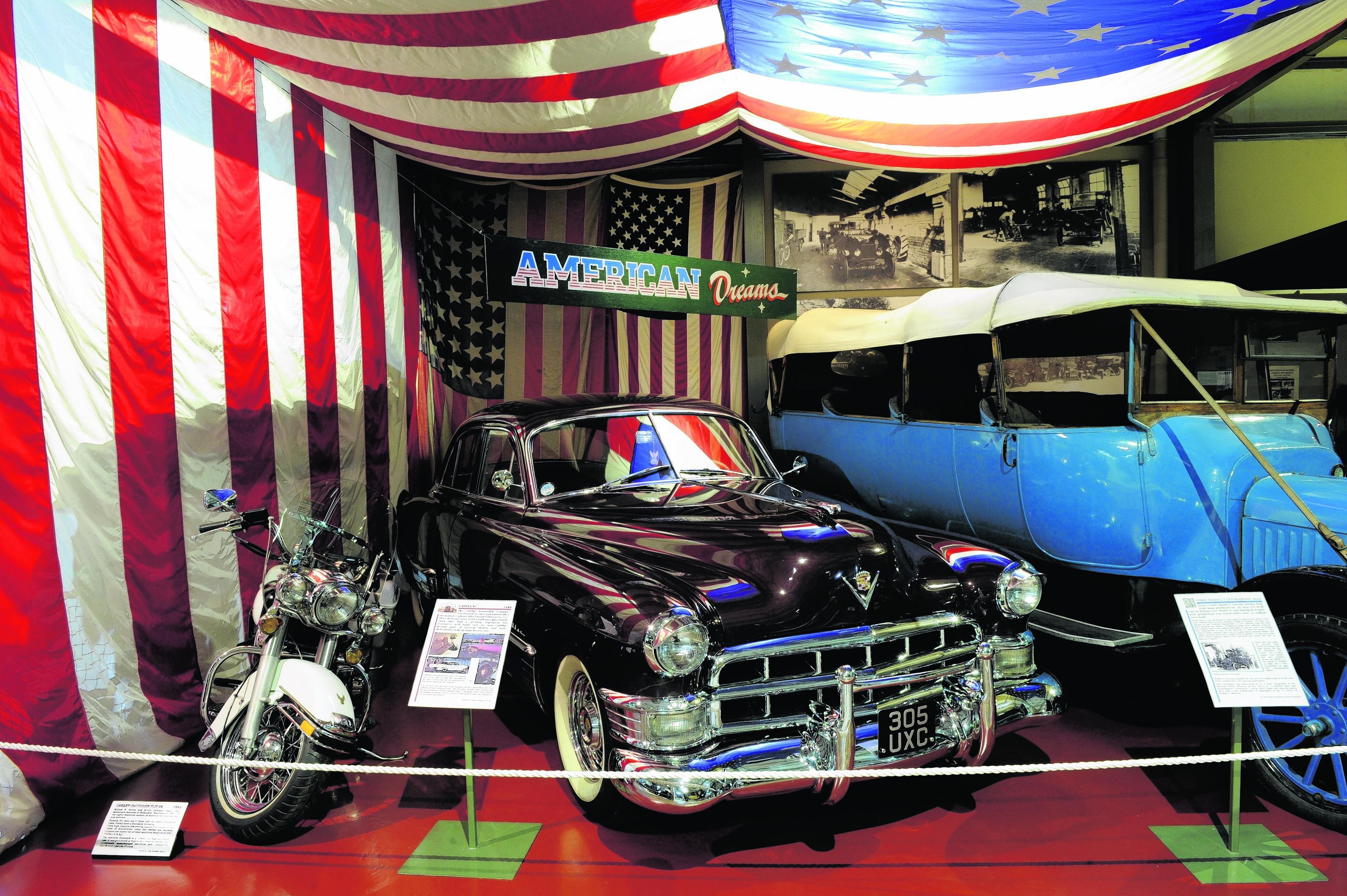 1982 Harley-Davidson FLH and 1949 Cadillac