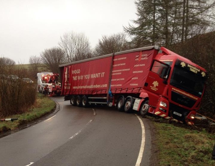 The HGV went off the road yesterday