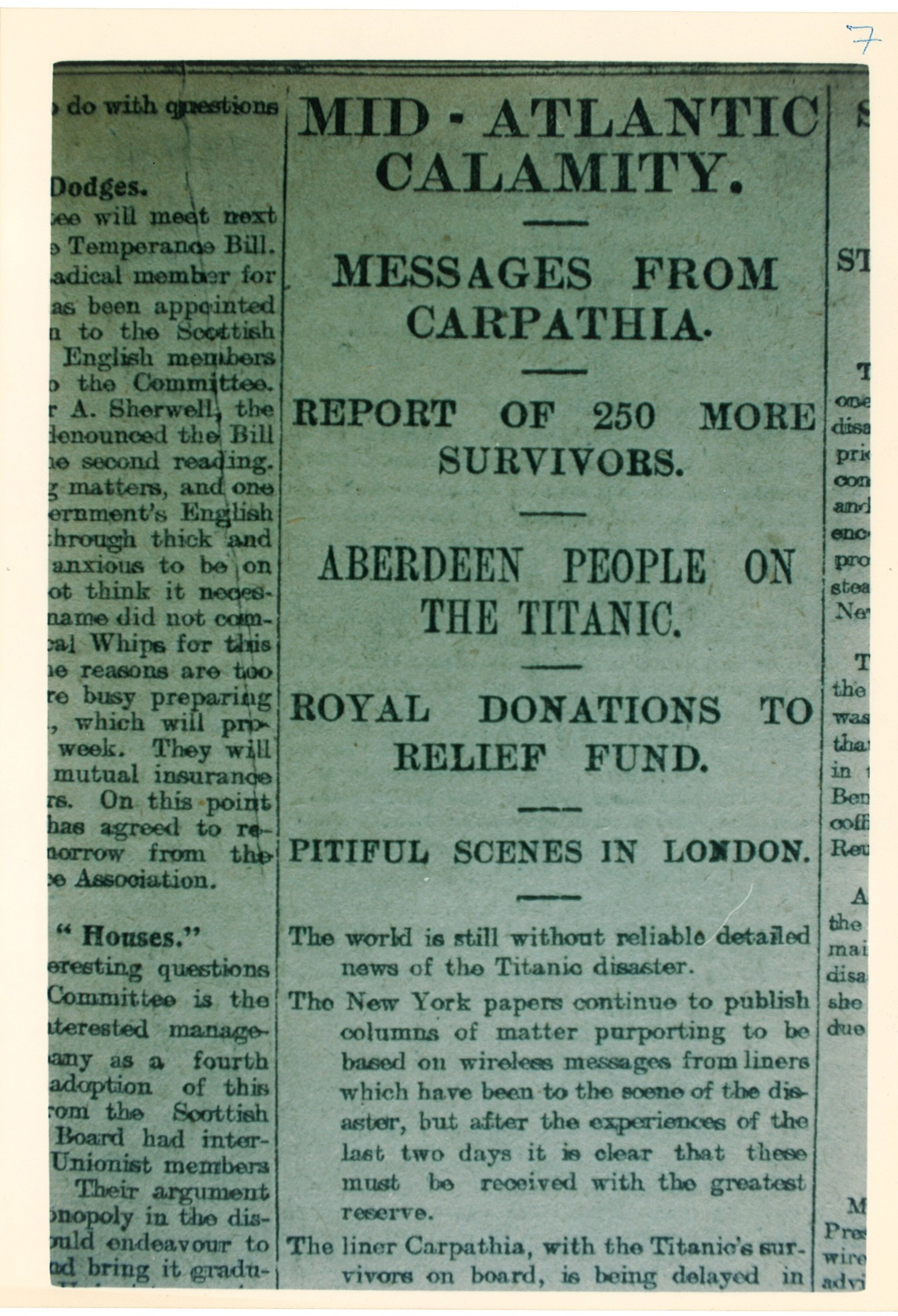 The Press and Journal's front page the day after the Titanic disaster
