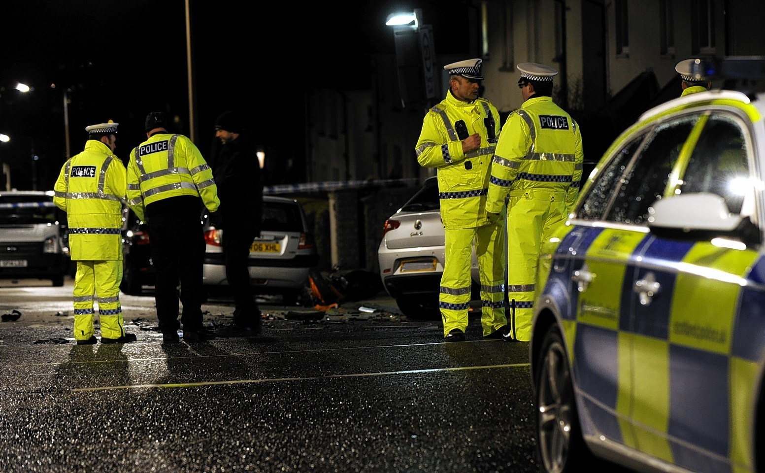 Police at the scene of the crash on Hilton Drive, Aberdeen