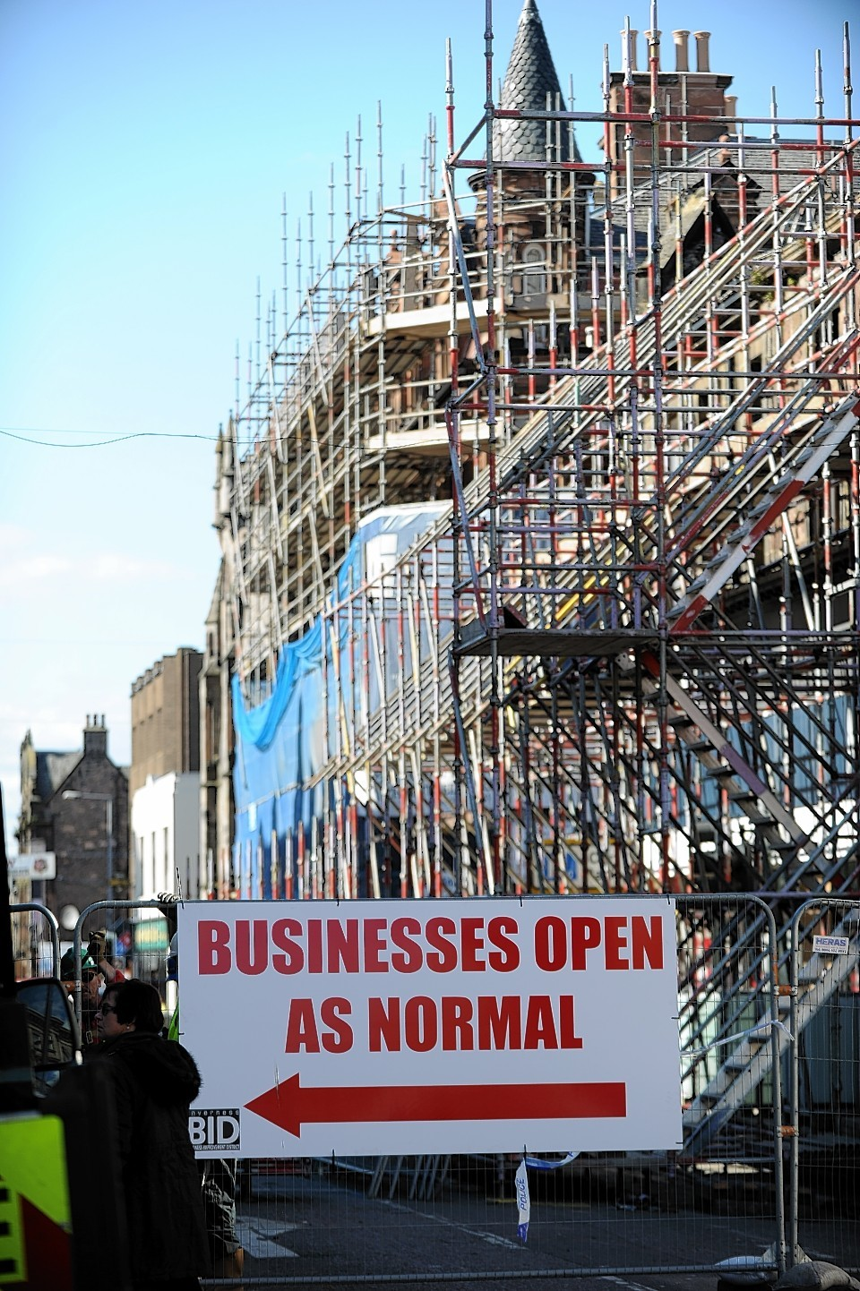 The scaffolding on Academy Street has been taken back to the facade