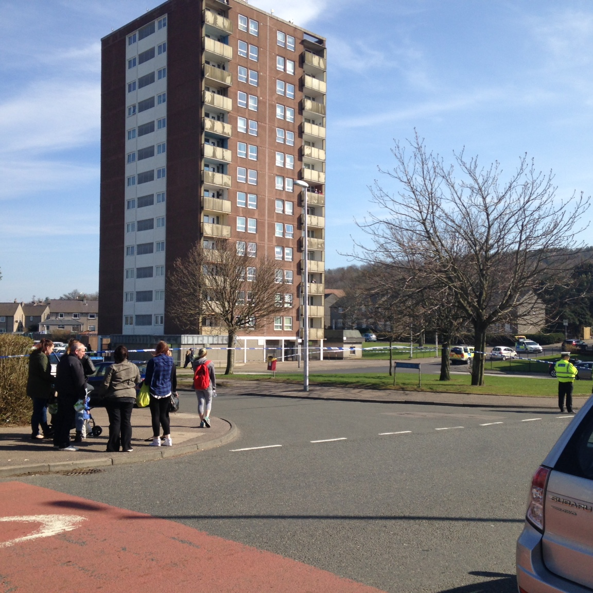 Police cordoned of areas in Aberdeen during the armed searches for the man