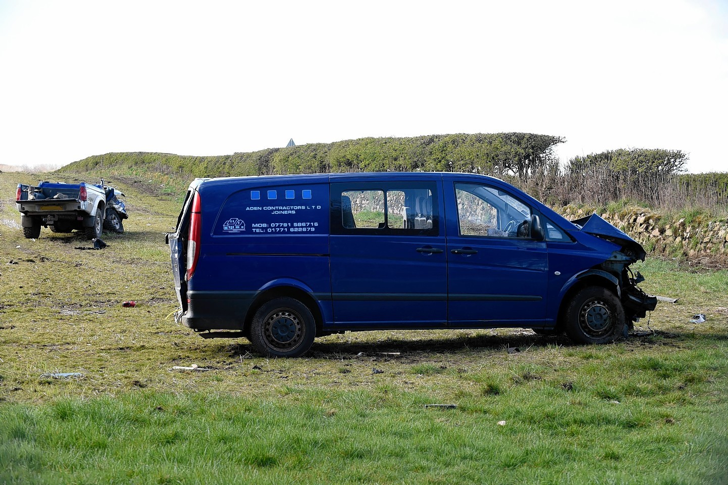The van landed not far from the other vehicle, in a nearby field