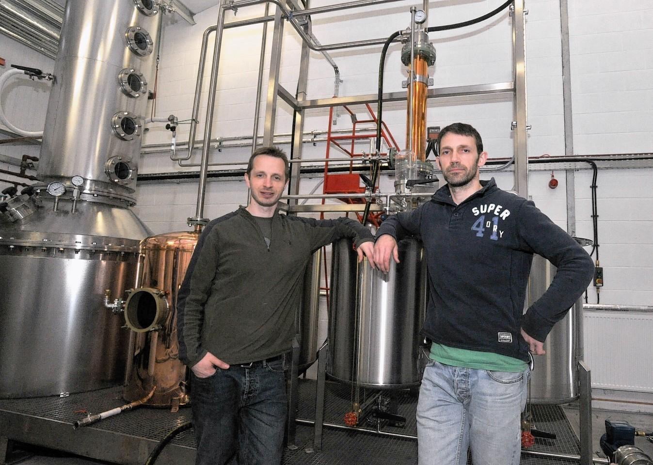 Jim Ewen and his brother John at Dark Matter Distillers, Banchory